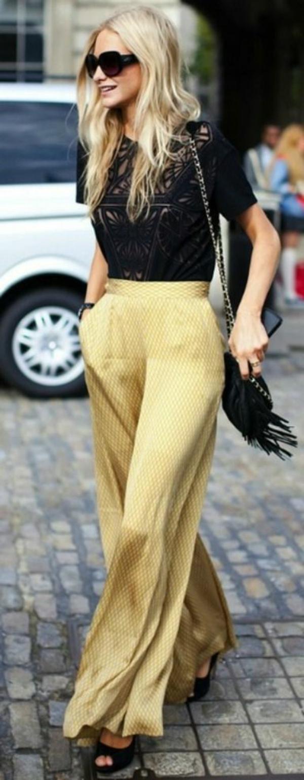 pantalon-fluide-jaune-et-blouse-noire