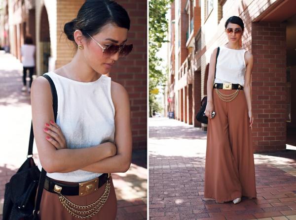 pantalon-fluide-marron-et-un-haut-blanc