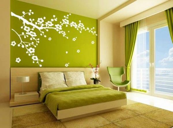 pièce-chambre-verte-à-coucher-sticker-de-mur-arbres-oiseaux