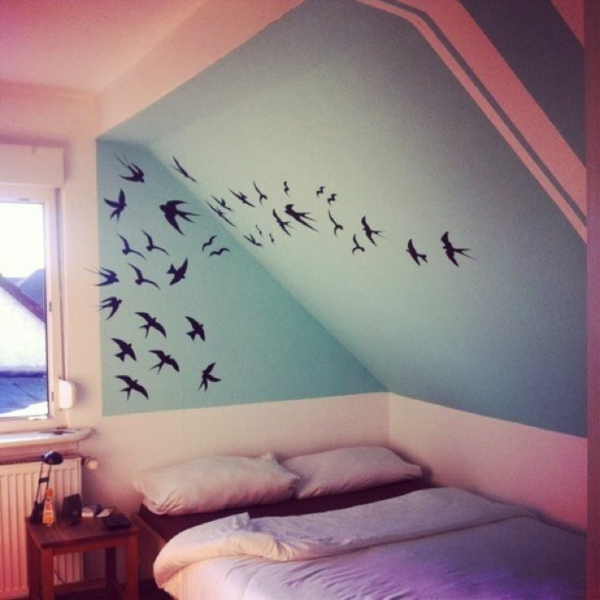 pièce-jolie-poétique-sticker-oiseaux-noires-chambre-à-coucher