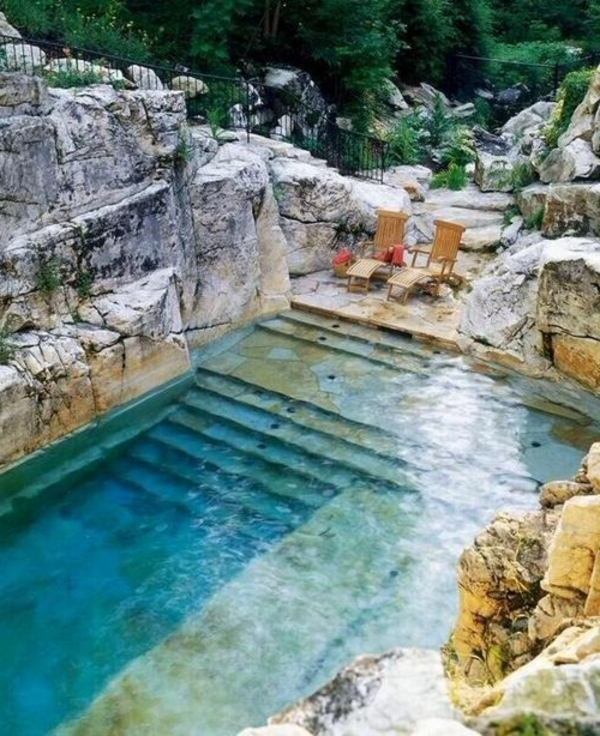 Votre piscine semi enterr e 30 id es cr atives for Piscine look design