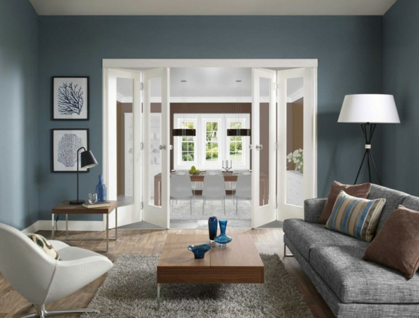 Salon Gris Et Bleu. Finest Awesome Decoration Interieur Moderne ...