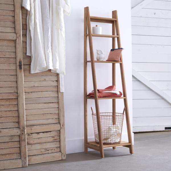 rayonnage-etagere-échelle-de-salle-de-bain-en-teck