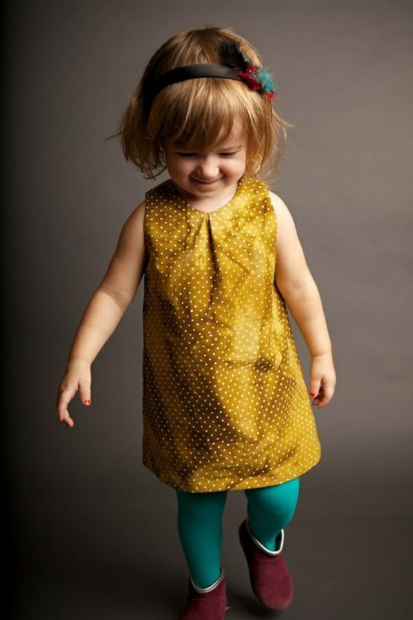 robe-de-soirée-pour-enfant-à-la-mode-jaune