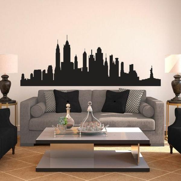 salon-décoration-sofa-stickers-ville-de-new-york