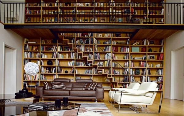 salon-roche-bobois-bibliothèque-murale-en-bois