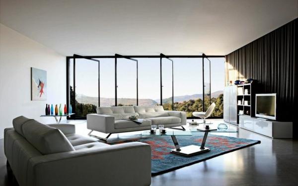 salon-roche-bobois-espace-minimaliste-et-beau-tapis-bleu