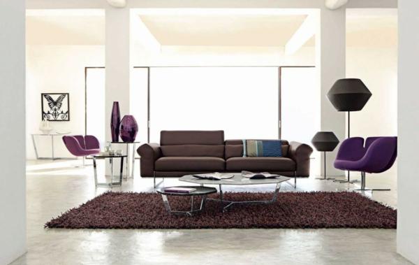 salon-roche-bobois-intérieur-en-couleur-crème-et-sofa-marron