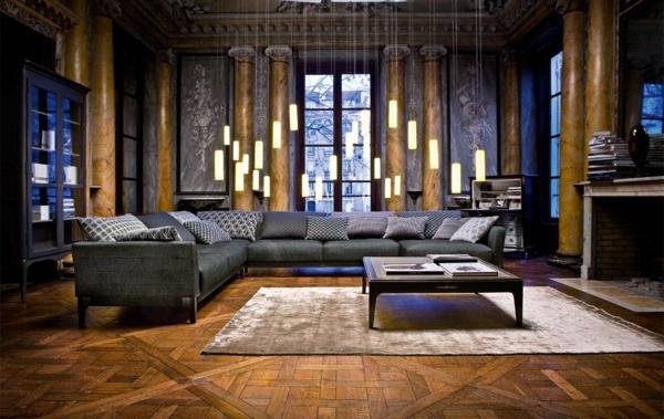 salon-roche-bobois-salle-de-séjour-magnifique-des-lampes-pendantes