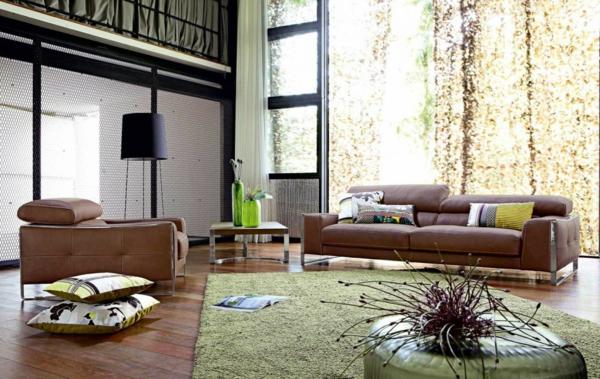 salon-roche-bobois-sofas-marrons-et-tapis-vert