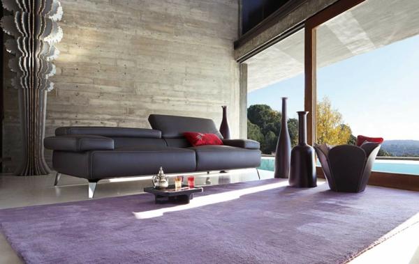 salon-roche-bobois-tapis-lilas-et-sofa-noir