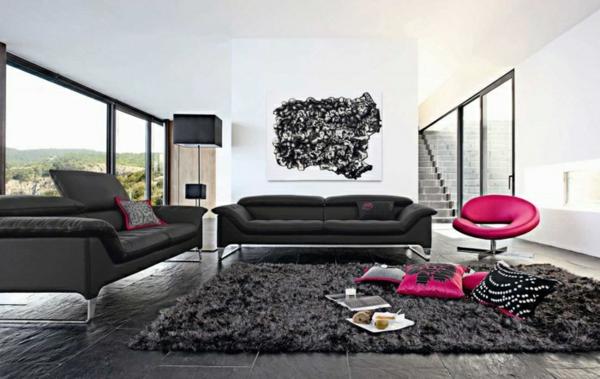 salon-roche-bobois-un-tapis-super-moelleux-chaise-rose-originale