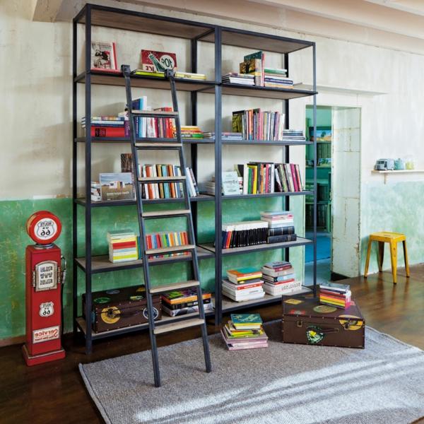 salon-séjour-bibliothèque-avec-echelle