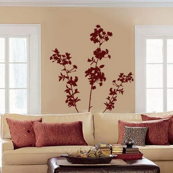 Stickers chambre adulte lesquels choisir - Deco salon beige et rouge ...