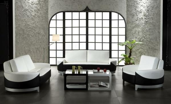 sofa-blanc-et-noir-salle-de-séjour-plante-verte