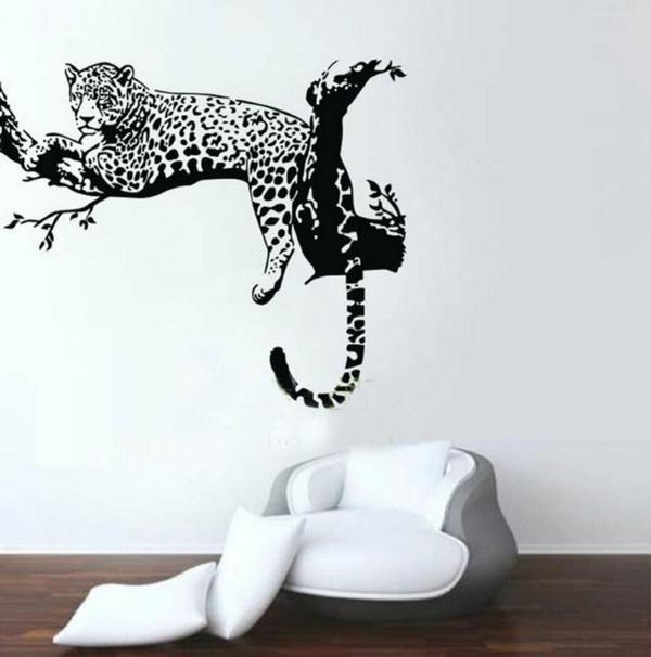 sticker-de-mur-léoparde-coussins-séjour-blanche