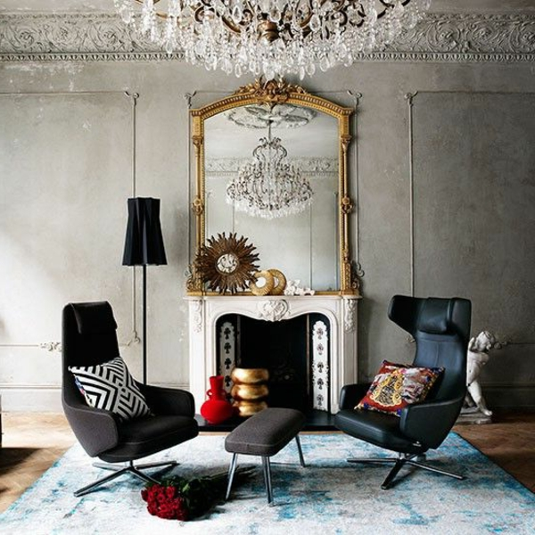 suspension-baroque-intérieur-contemporain-lustre-séjour-chaise-sofa-tapis