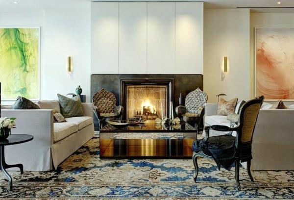 tapis-coloré-bleu-cheminée