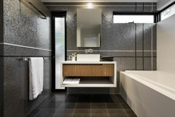 carrelage salle de bain scandinave la vasque rectangulaire idees deco pour votre salle de bains - Idee Deco Salle De Bain Noir Et Gris