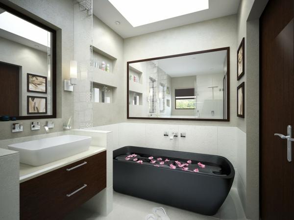 vasque-rectangulaire-salle-de-bains-élégante-une-baignoire-noire-deux-grands-miroirs-rectangulaires