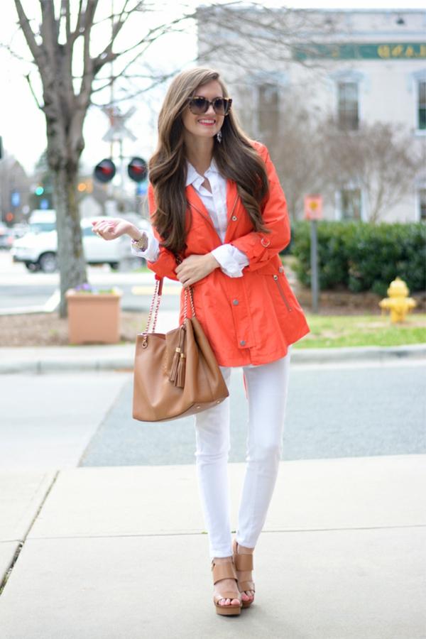Robe blanche veste corail