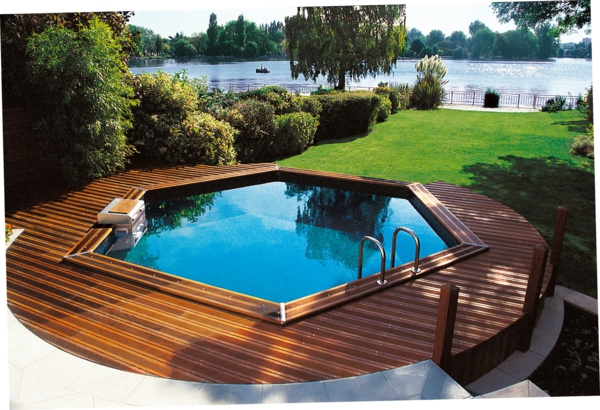 Votre piscine semi enterr e 30 id es cr atives for Idee jardin piscine