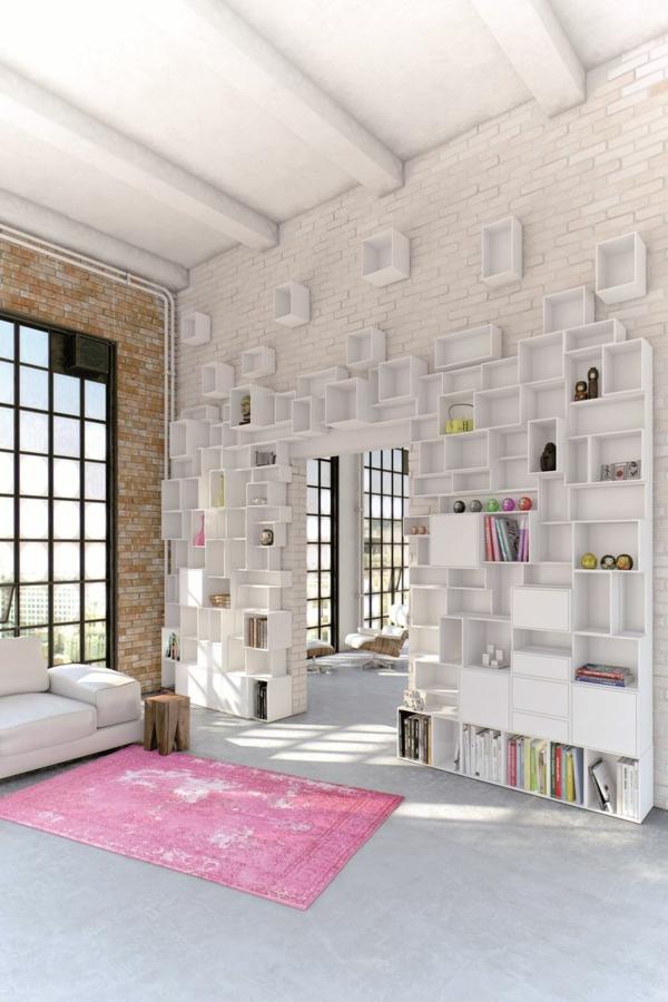 étagères-cubes-blanches-un-mur-superbe-et-un-tapis-rose