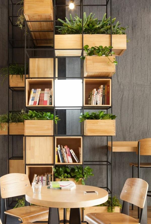 étagères-cubes-et-pots-de-fleurs-en-bois