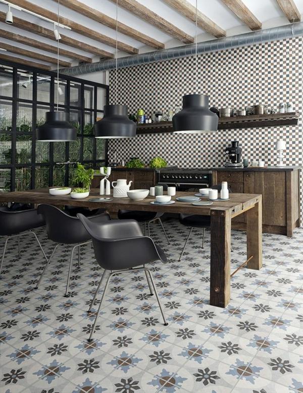 Carrelage de cuisine carrelage mural cuisine noir et - Carrelage ancien noir et blanc ...