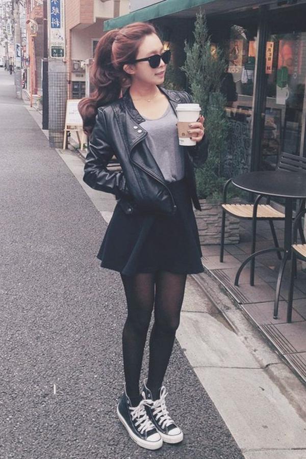 Blazer-en-cuir-tenue-spécial-fille-jupe-skater