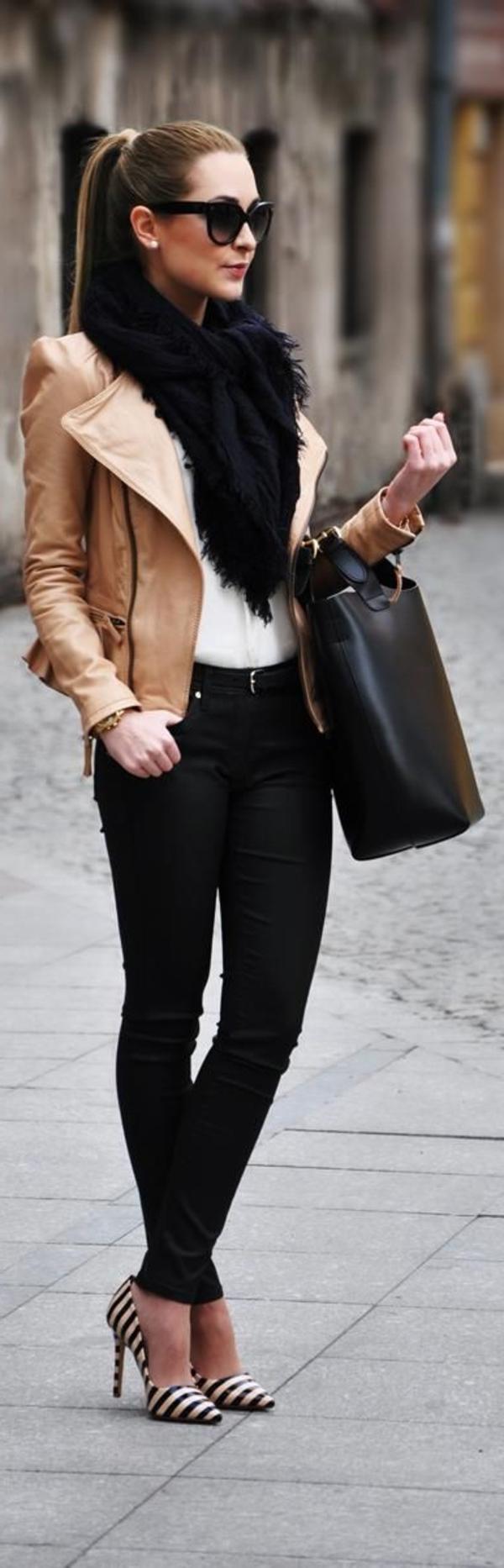 Look blouson en cuir