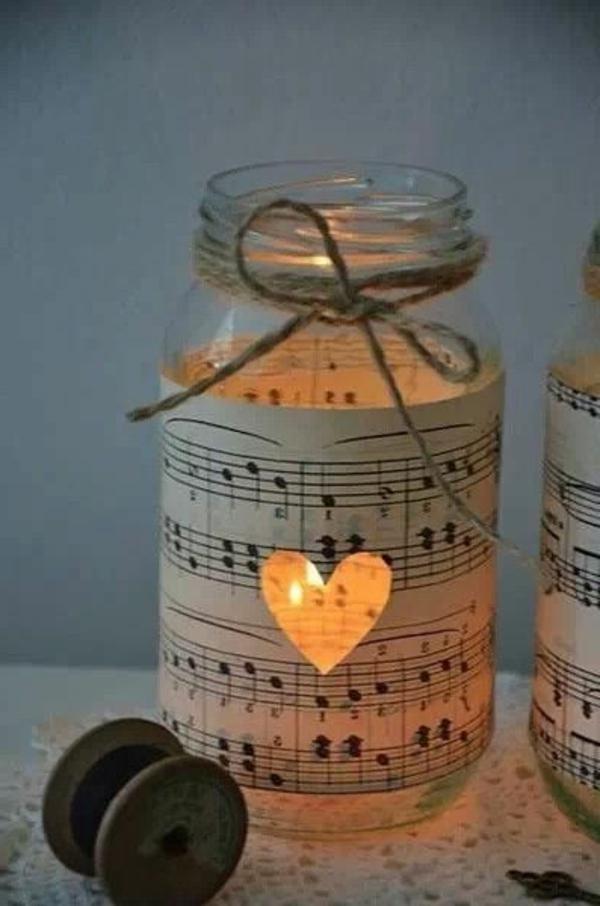 Bougies-décoratives-une-tendresse-incomparable-coeur-notes-pot-décorée