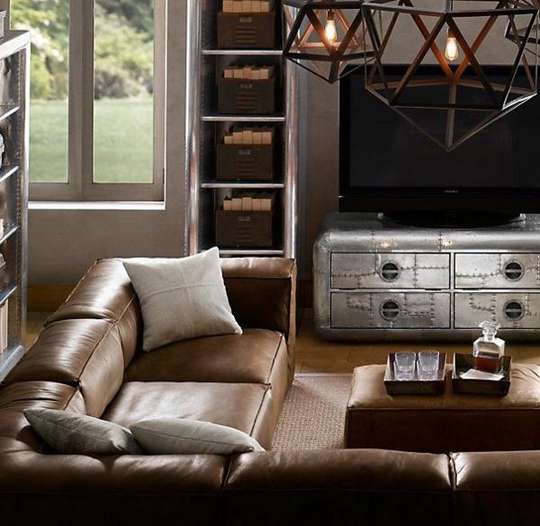 Canapé-d-angle-cuir-convertible-chambre-de-sejour-moderne