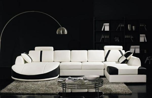 Canapé-d-angle-en-cuir-salon-blanche-et-noir