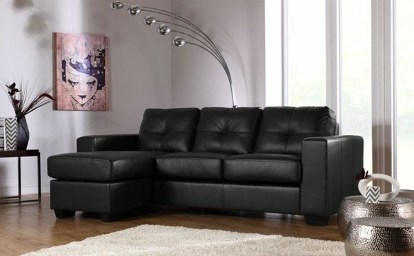 le canap d 39 angle en cuir 60 id es d 39 am nagement. Black Bedroom Furniture Sets. Home Design Ideas