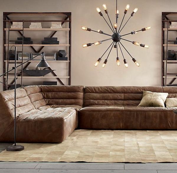 Canapé-d-angle-en-cuir-salon-lustre-originel