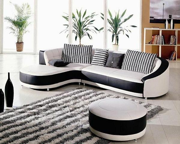Canape-angle-pas-cher-espace-séjour-blanc-et-noir-plantes