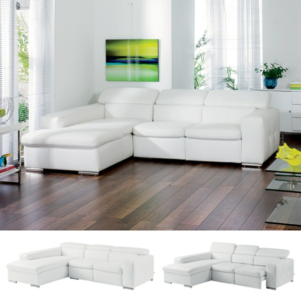 Canape-d-angle-convertible-séjour-couleur-blanche