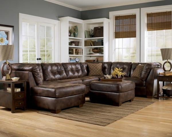 Canape-d-angle-convertible-séjour-tapis-brun-classique