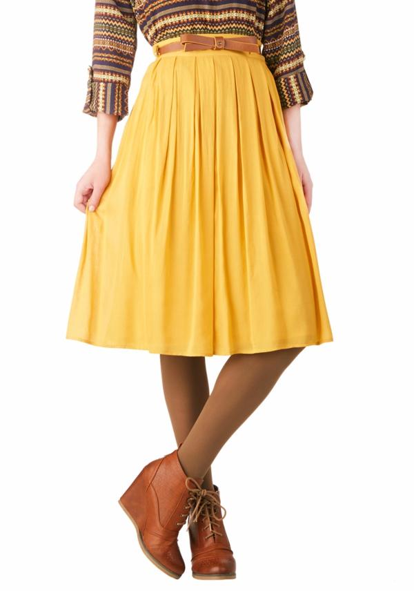 Le-vintage-à-la-mode-tenue-jolie-danser-swing-taille-haute-jupe-jaune