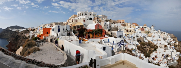 Panoramic view of Oia, Santorini island (Thira), Greece.