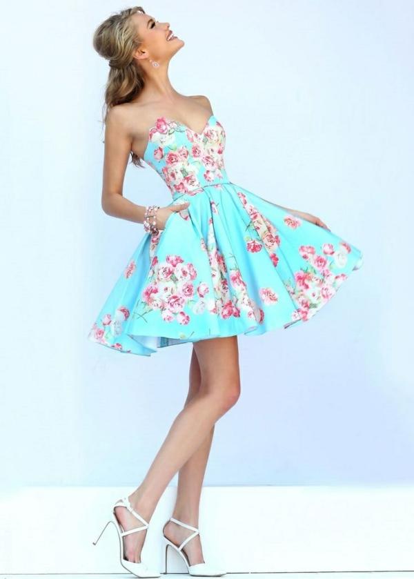 Robe-chic-robe-de-bal-de-promo-robe-bleu-courte-floral