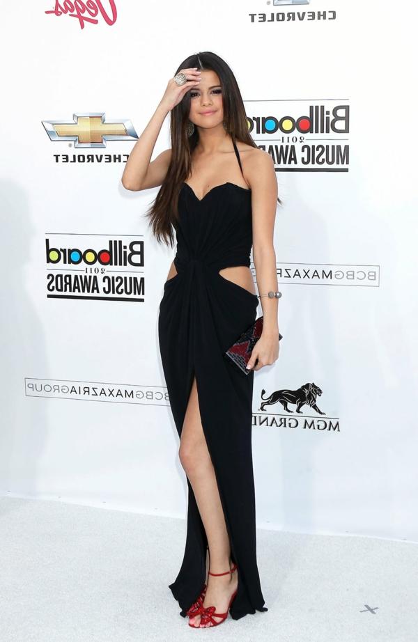 Robe-de-bal-de-promo-chic-noir-Selena-Gomez