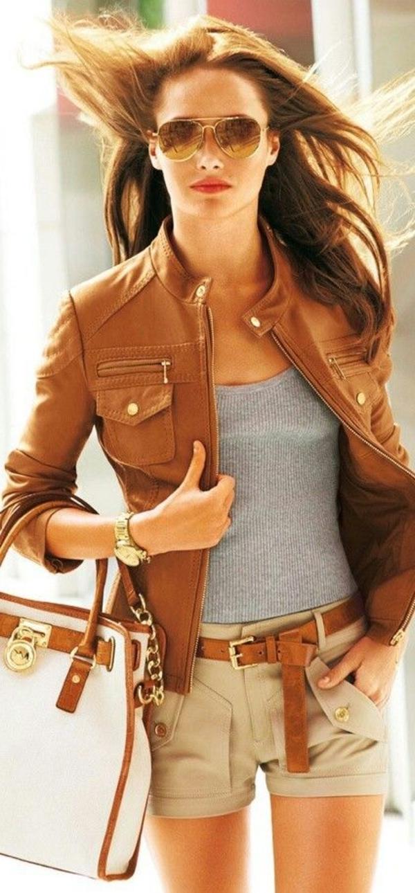 Veste en cuir femme marron clair