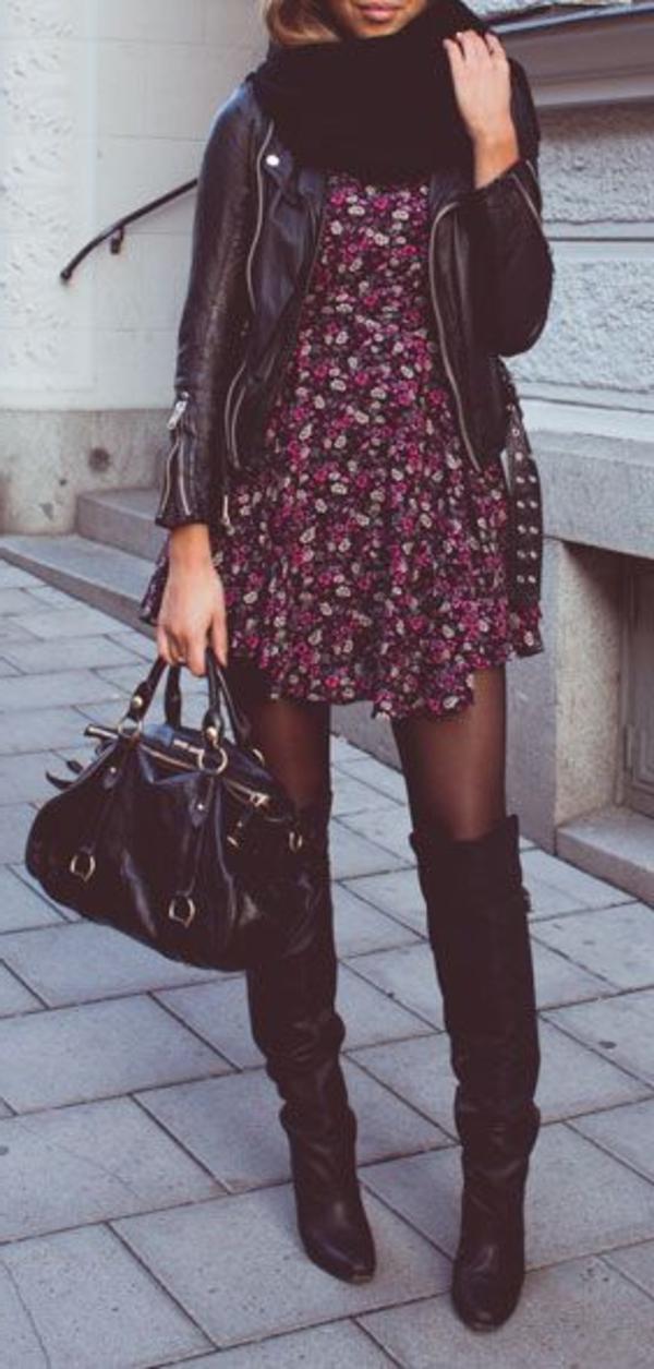 Veste-cuir-vêtement-stylé-robe-en-fleures-sac-a-main