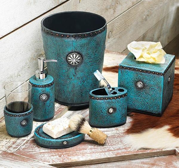 accessoires-de-salle-de-bain-céramique-bleue