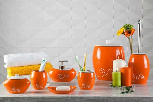 Accessoires salle de bain couleur orange for Accessoires salle de bain couleur orange