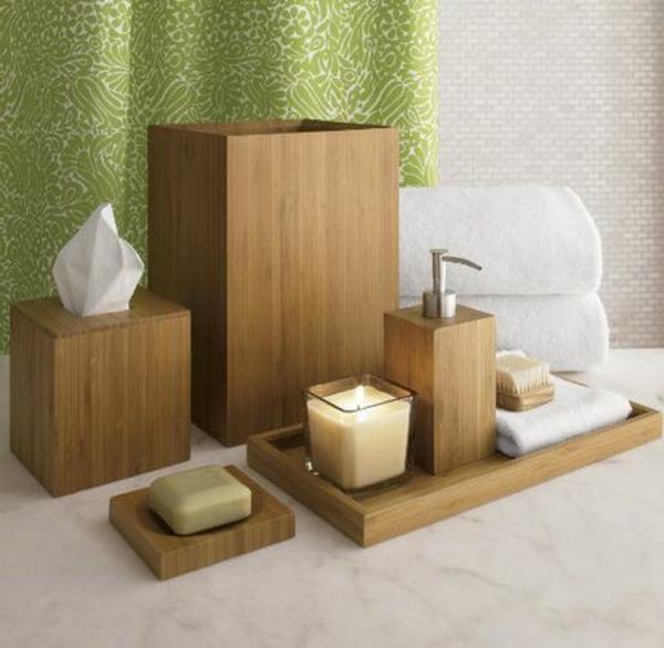 Accessoires pour salle de bain en bois for Accessoire mural salle de bain