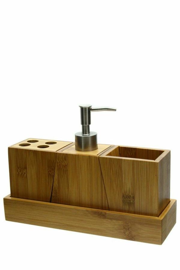 Ensemble salle de bain bambou for Accessoires salle de bain bambou