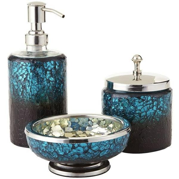 Accessoires salle de bain turquoise cheap accessoire for Accessoire salle de bain bleu turquoise